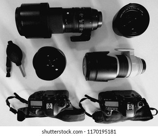 Vienna, Austria: Canon equipment see from above with 2 bodies and 3 lenses