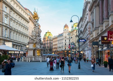 VIENNA, AUSTRIA - CIRCA APRIL 2018: Graben street and Plague Column in center of Vienna