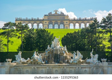 VIENNA, AUSTRIA - CIRCA APRIL 2018: Gloriette pavilion and Neptune fountain in Schonbrunn park