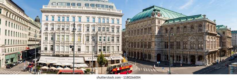 Vienna, AUSTRIA: Circa July 2018: Panoramic view of street in Vienna, Austria.