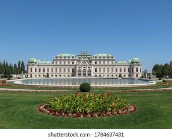 VIENNA, AUSTRIA - CIRCA JULY 2020: Schloss Belvedere (translation Belvedere Palace) imperial residence