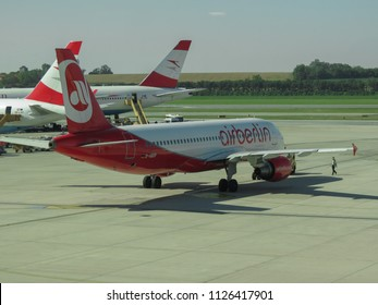 VIENNA, AUSTRIA - CIRCA JUNE 2012: Aircraft of Austrian Airlines at the airport of Schwechat