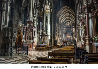 VIENNA. AUSTRIA - CIRCA MAY 2014: Interior of famous  St. Stephan cathedral (Stephansdom) in Veinna, Austria