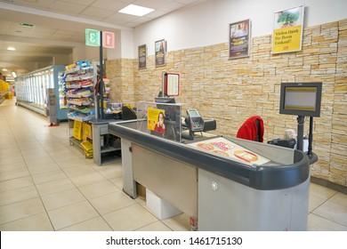 VIENNA, AUSTRIA - CIRCA MAY, 2019: interior shot of a BILLA supermarket in Vienna. BILLA is an Austrian supermarket chain.