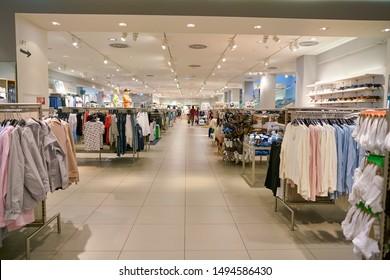 VIENNA, AUSTRIA - CIRCA MAY, 2019: interior shot of a H&M store in Wien Mitte The Mall in Vienna.