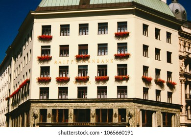 VIENNA, AUSTRIA - CIRCA SEPTEMBER 2009: Facade of the Looshaus, designed by architect Adolf Loos, in Vienna - now housing a branch of the Raiffeisen Bank