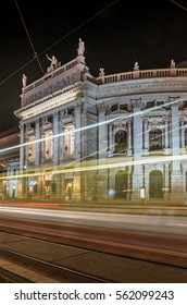 Vienna, Austria, city theater (Burgtheater) on Universitatsring street in the night