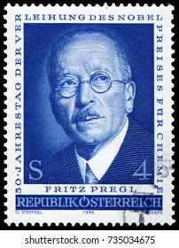 Vienna, Austria - Dec 12, 1973: Fritz Pregl(1869-1930), Slovenian and Austrian chemist and physician, Nobel Prize winner in Chemistry in 1923 for contributions to quantitative organic microanalysis.