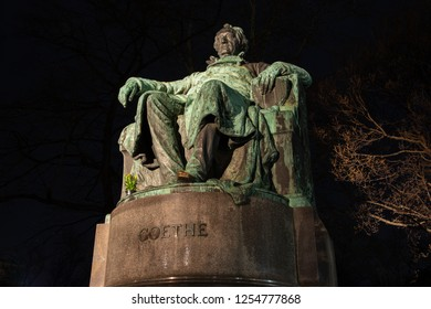 Vienna, Austria - DEC 2017. Statue of Goethe (Johann Wolfgang von Goethe) German writer and poet in Vienna, Nightshot
