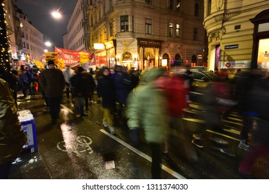 Vienna, Austria - Dec, 2018: Protests of the union against the federal government in the city center.