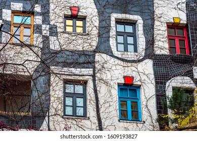 Vienna\ Austria- Dec 9, 2019 The Hundertwasser Museum ( Kunst Haus Wien ) is home to a collection of works by the Viennese artist Freidrich Hundertwasser, who designed the iconic Hundertwasserhaus.