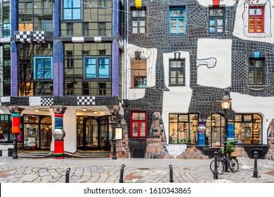 Vienna\ Austria- Dec 9, 2019 Museum Hundertwasser Kunst Haus Wien, street view.