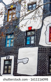 Vienna\ Austria- Dec 9, 2019 Museum Hundertwasser – Kunst Haus Wien colorful checkerboard mosaic-lined facade.