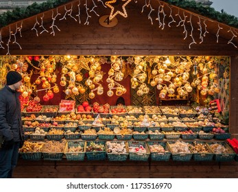 Vienna, Austria - December 01 2011: Tourist browsing the Christmas markets in the grounds of Schonbrunn Palace, Vienna.
