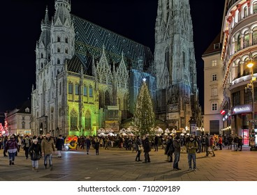 VIENNA, AUSTRIA - DECEMBER 10, 2016: Stephansplatz Christmas market around the St. Stephen's Cathedral. The Christmas market in the heart of Vienna Old Town offers high-quality products from Austria.