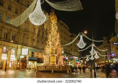VIENNA, AUSTRIA - December 11, 2009: Vienna - famous Graben street.
