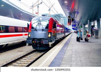 "Vienna, Austria - December 14 2018, main railway station Wien Hauptbahnhof with ""Railjet"" train of OBB"