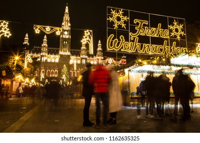VIENNA, AUSTRIA - December 15, 2017: Christmas Market in front of Vienna City Hall