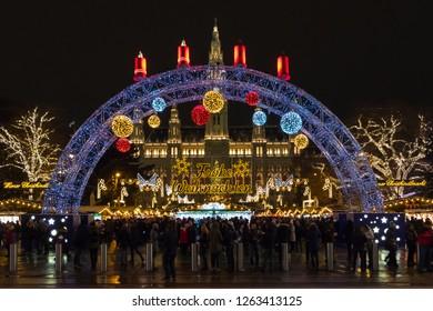 VIENNA, AUSTRIA - DECEMBER 15, 2018: Vienna City Town hall at night during Christmas Market Time