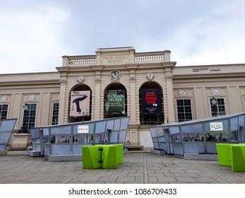 Vienna, Austria - December 16, 2017: Museums Quartier square