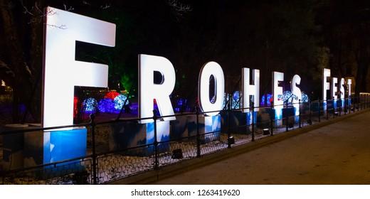 VIENNA, AUSTRIA - DECEMBER 16, 2018: Frohes Fest sign in German language in Vienna