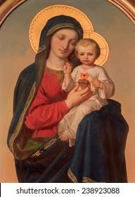 VIENNA, AUSTRIA - DECEMBER 17, 2014: The Madonna paint on the side altar of Sacre Coeur church by Anna Maria von Oer (1846-1929).