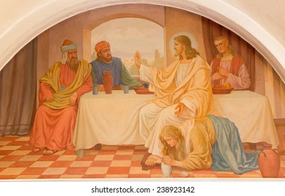 VIENNA, AUSTRIA - DECEMBER 17, 2014:  The Mary Magdalen wash the feet of Jesus scene by Josef Kastner the older from 20. cent. in Erloserkirche church.