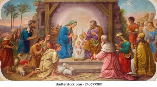 VIENNA, AUSTRIA - DECEMBER 17, 2014: Fresco of Nativity scene by Josef Kastner the older from 20. cent. in Erloserkirche church.