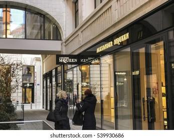 Vienna, Austria - December 17, 2016: Women in front of an Alexander McQueen store in Vienna, Austria