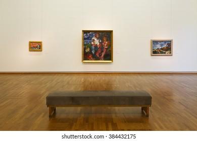 Vienna, Austria - December 19, 2015: Exhibition space in Leopold museum in Vienna.