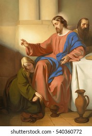 VIENNA, AUSTRIA - DECEMBER 19, 2016: The painting os scene Mary Magdalen wash the feet of Jesus in church kirche St. Laurenz (Schottenfelder Kirche) by Carl Johann Nepomuk Hemerlein (1807 - 1884).