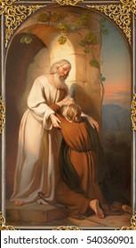 VIENNA, AUSTRIA - DECEMBER 19, 2016: The painting of scene comeback of Prodigal son in church kirche St. Laurenz (Schottenfelder Kirche) by Carl Johann Nepomuk Hemerlein (1807 - 1884).