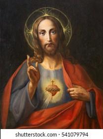 VIENNA, AUSTRIA - DECEMBER 19, 2016: The painting of Heart of Jesus Christ in church kirche St. Laurenz (Schottenfelder Kirche) by unknown artist of 19. cent.) - probably by Leopold Kupelwieser.