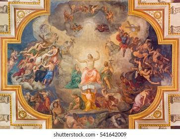 VIENNA, AUSTRIA - DECEMBER 19, 2016: The Last Judgment ceiling fresco in church Kirche St. Laurenz (Schottenfelder Kirche) by Fridrich Staudinger (1871).