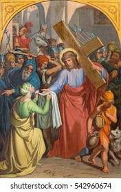 VIENNA, AUSTRIA - DECEMBER 19, 2016: The painting  Veronica wipes the face of Jesus in church kirche St. Laurenz (Schottenfelder Kirche) by unknown artist of 19. cent.