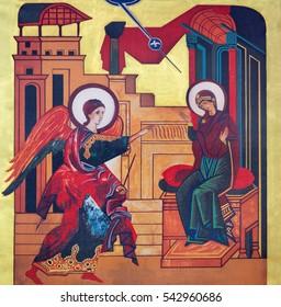 VIENNA, AUSTRIA - DECEMBER 19, 2016: The icon of the Annunciation on the canvas in church Brigitta Kirche desigined in 20. cent. by Kiko Arguello - founder of Neocatechumenat.