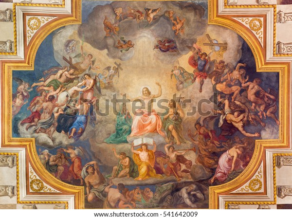 VIENNA, AUSTRIA - DECEMBER 19, 2016: The Last Judgment ceiling fresco in church Kirche St. Laurenz (Schottenfelder Kirche) by Fridrich Staudinger (1871).