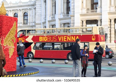 VIENNA, AUSTRIA - DECEMBER 2, 2015: Beautiful view of famous Wiener Ringstrasse with historic Burgtheater (Imperial Court Theatre).