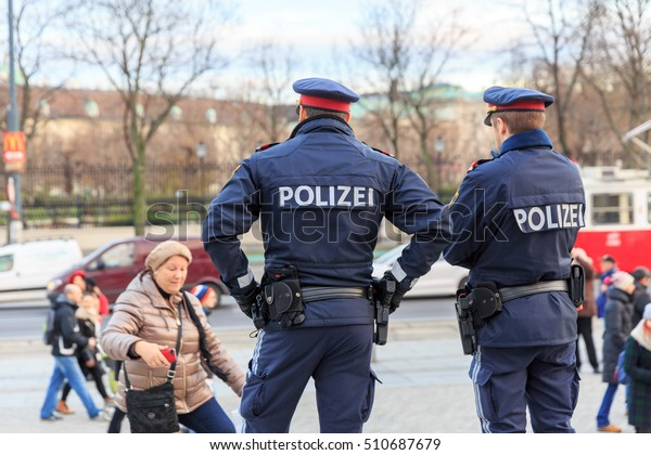 VIENNA, AUSTRIA - DECEMBER 2, 2015:  Police officer