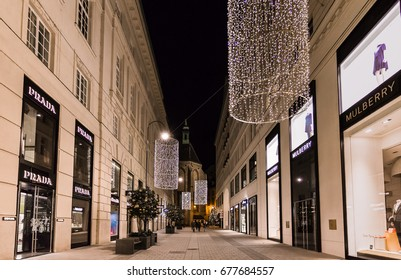 Vienna, Austria, December 2016:  Christmas in Vienna, beautiful Christmas decoration at the Golden Quarter (Goldenes Quartier) is one of the most exclusive shopping areas in the 1st district.
