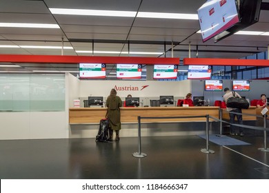 Vienna, Austria - December 2017: Austrian airlines check-in counter area at Vienna Schwechat Airtport Terminal 1. Austrian Airlines is the flag carrier of Austria.