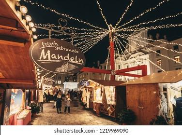 Vienna, Austria - December 2017: Christmas Market in central Vienna
