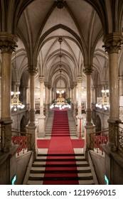 Vienna, Austria - December 2017: Vienna City Hall interior  (Rathaus)