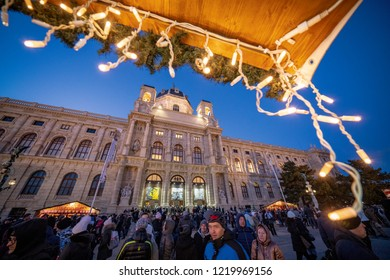 Vienna, Austria - December 2017: crowded christmas market in front of the Natural History Museum in Wien