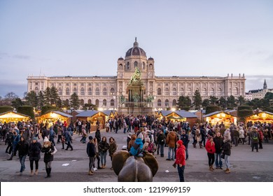Vienna, Austria - December 2017: crowded christmas market in Maria Theresa square in Wien