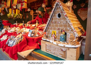 Vienna, Austria - December 2017: ginger bread house in a traditional christmas market shop in central Vienna