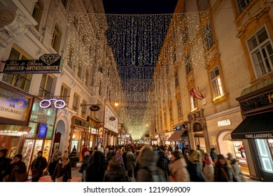 Vienna, Austria - December 2017: Herrengasse busiest commercial street decorated for Christmas and holidays
