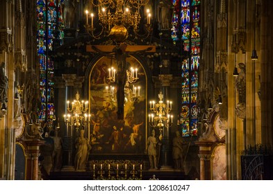 VIENNA, AUSTRIA - DECEMBER 2017: Holy mass in St. Stephen's Cathedral. The cathedral is the mother church of the Roman Catholic Archdiocese of Vienna and the seat of the Archbishop of Vienna.