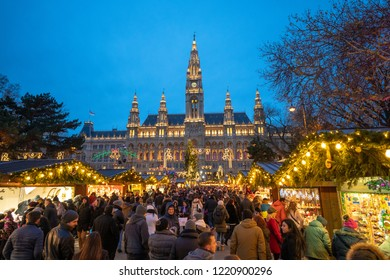 Vienna, Austria - December 2017: Traditional Christmas Market in Vienna in front of the City Hall