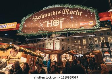 Vienna, Austria - December 2017: Weihnachts Christmas Market in central Vienna